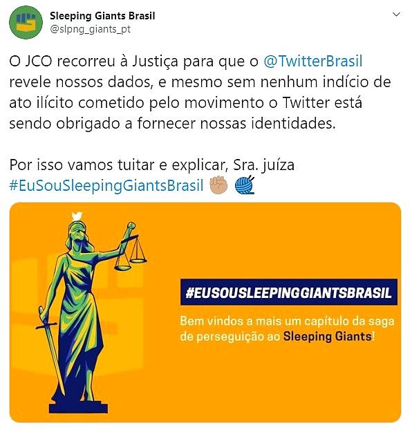 Sleeping Giants contra decisão da Justiça do Rio Grande do Sul