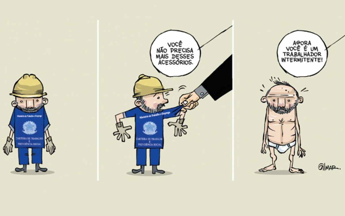 Charge do cartunista Gilmar ironiza nova modalidade de contratação